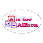 Baby Blocks Allison Sticker (Oval 50 pk)