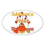 First Halloween Addison Sticker (Oval)