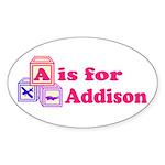 Baby Blocks Addison Sticker (Oval 50 pk)