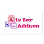Baby Blocks Addison Sticker (Rectangle 50 pk)