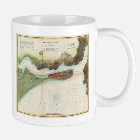 Vintage Mare Island Strait and Vallejo Map (1 Mugs