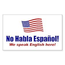No Habla Español Rectangle Decal
