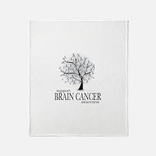 Brain Cancer Tree Throw Blanket
