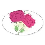 ROSES DECOR Sticker (Oval 50 pk)