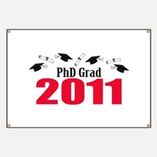 PhD Grad 2011 (Red Caps And Diplomas) Banner