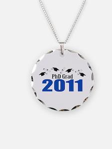 PhD Grad 2011 (Blue Caps And Diplomas) Necklace