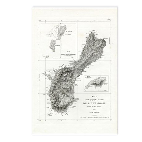 Guam Map Postcards (Package of 8)