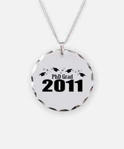 PhD Grad 2011 (Black Caps And Diplomas) Necklace C