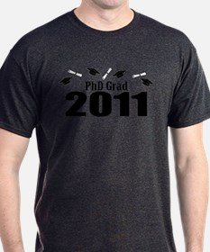 PhD Grad 2011 (Black Caps And Diplomas) T-Shirt