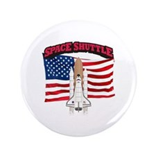 """Space Shuttle and Flag 3.5"""" Button"""