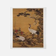 Cranes Japanese Print Throw Blanket