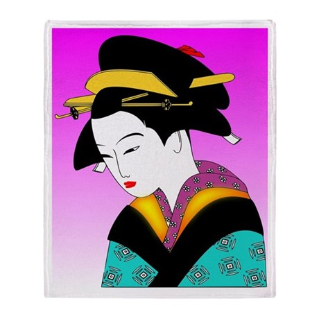 Geisha Girl Japan Pink Throw Blanket