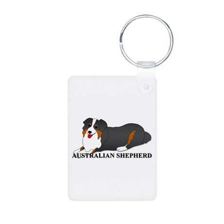 Australian Shepherd Dog Aluminum Photo Keychain