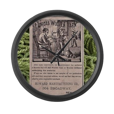 Victorian Woolen Yarn Ad Large Wall Clock