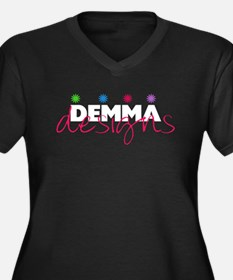 Demma Designs Women's Plus Size V-Neck Dark T-Shir