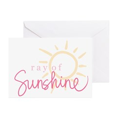 Ray of Sunshine (pink) Greeting Cards (Package of