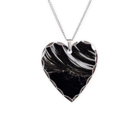Black Obsidian Stone Necklace Heart Charm