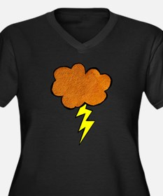 Lightning Cloud Women's Plus Size V-Neck Dark T-Sh