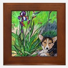 A corgi rests in Spring Framed Tile