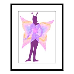 Silhouette Fairy Large Framed Print