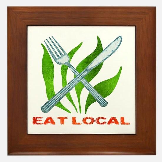 Eat Local Framed Tile