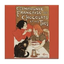 Steinlen French Chocolate Poster Art Tile Coaster