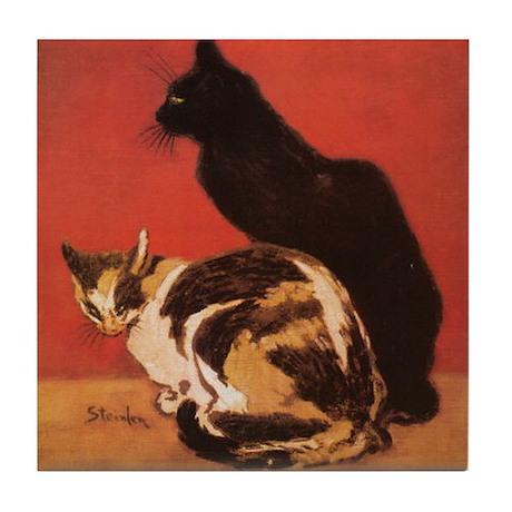 Steinlen Les Chats Black Cat Art Tile Coaster