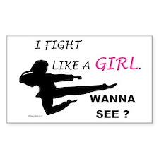 Fight Like A Girl 1 Sticker (Rectangular)