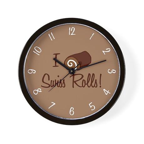 I Love Swiss Rolls Wall Clock By Trendyteeshirts