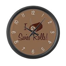 I Love Swiss Rolls Large Wall Clock