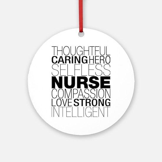 Nurse Text Round Ornament
