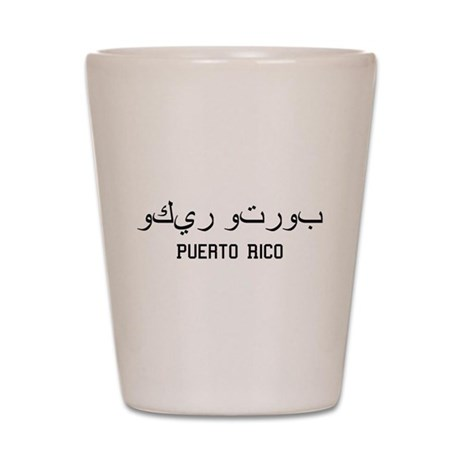 Puerto Rico in Arabic Shot Glass