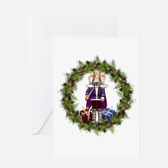 Mouse King Nutcracker Wreath Greeting Cards