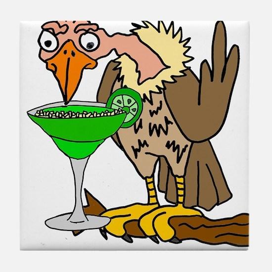 Vulture Drinking Margarita Tile Coaster