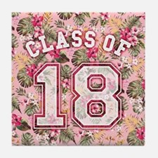 Class of 18 Floral Pink Tile Coaster