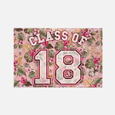 Class of 18 Floral Pink Rectangle Magnet