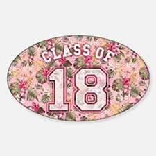 Class of 18 Floral Pink Sticker (Oval)