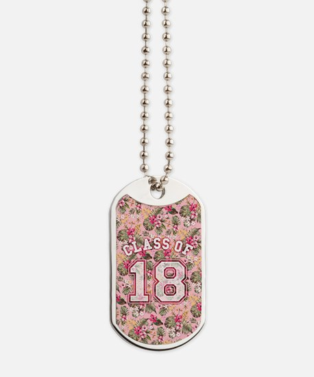 Class of 18 Floral Pink Dog Tags