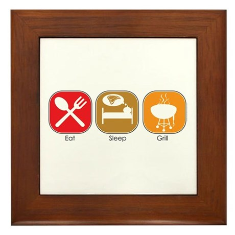 Eat Sleep GRILL Framed Tile