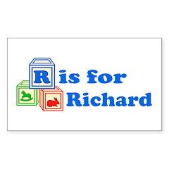 Baby Blocks Richard Sticker (Rectangle)
