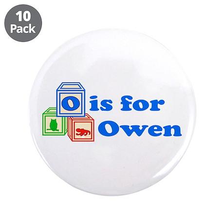 """Baby Blocks Owen 3.5"""" Button (10 pack)"""
