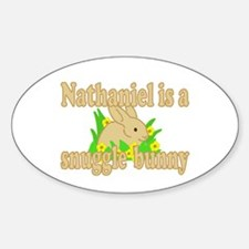 Nathaniel is a Snuggle Bunny Sticker (Oval)