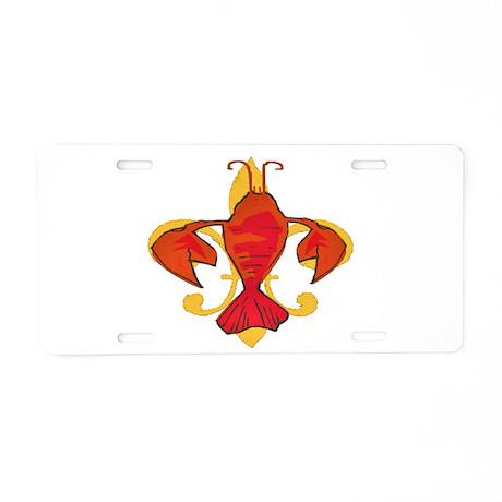 Crawfish Fleur De Craw Aluminum License Plate