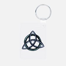 Triquetra Blue Aluminum Photo Keychain
