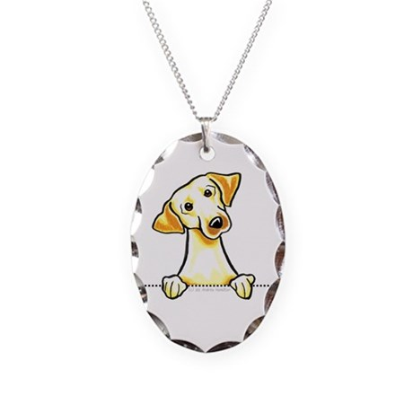Yellow Lab Line Art Necklace Oval Charm