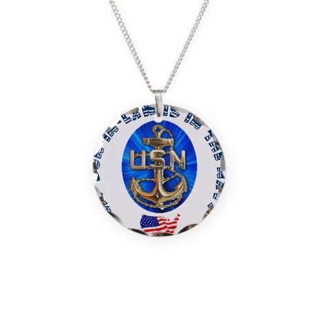 Navy Son-In-Law Necklace Circle Charm