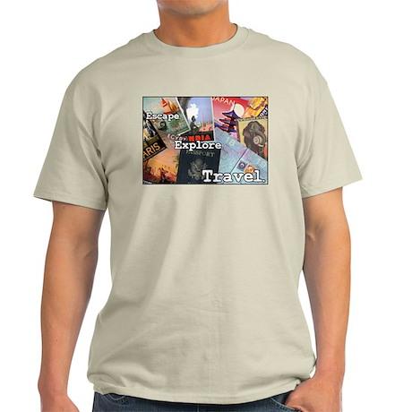 """Escape. Explore. Travel."" Ash Grey T-Shirt"
