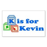 Baby Blocks Kevin Sticker (Rectangle 50 pk)