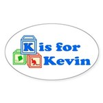 Baby Blocks Kevin Sticker (Oval 50 pk)