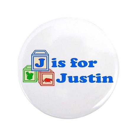 "Baby Blocks Justin 3.5"" Button"